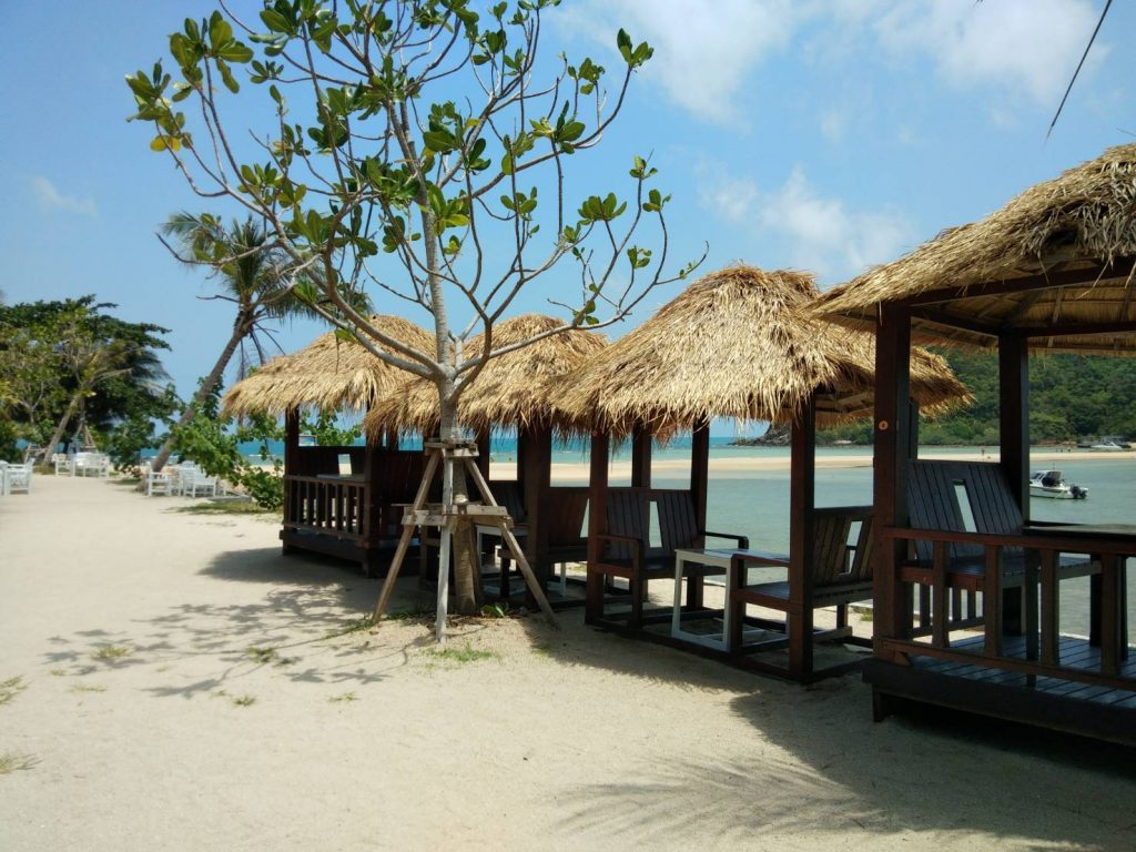 Pavilions on the beach nearby Koh Ma